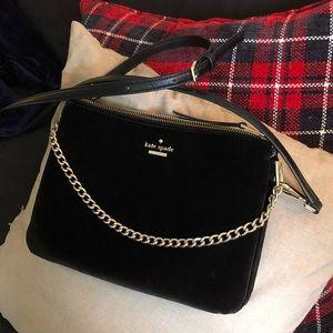 Kate Spade black velvet crossbody bag